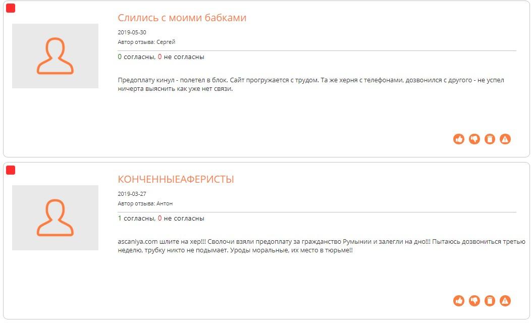 ascaniya.com отзывы на сайте corpindex.ru